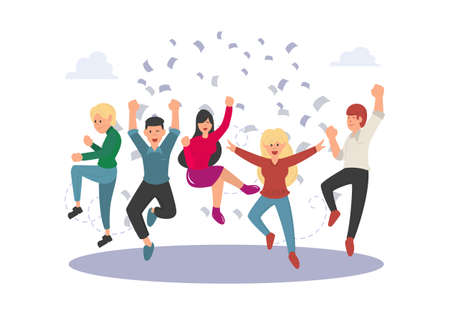 Business people jumping celebrating victory isolated image on a white background. Happy and joyful people cartoon character. Teamwork and cooperation concept. Vector illustration of a flat design