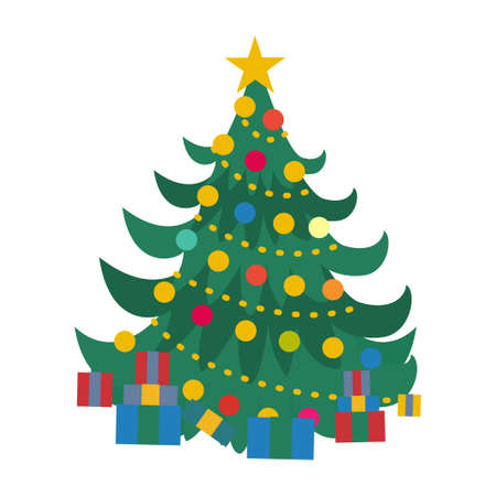 Christmas tree flat design. Beautiful elegant green christmas tree with decoration and gift box. Colorful flat presents for holiday. Christmas and New Year elements for decoration.