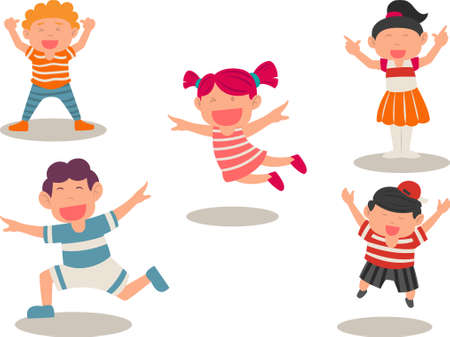 Happy funny kids jumping. Five cute kids jumping for joy together. Concept of childhood, playground, fun.Cartoon school boy and girl. Flat design style minimal vector illustration.