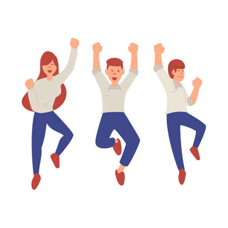 Happy jumping people simple flat style. Young smiling woman and man celebrating victory vector illustration on white background. The concept of friendship, healthy lifestyle, success.