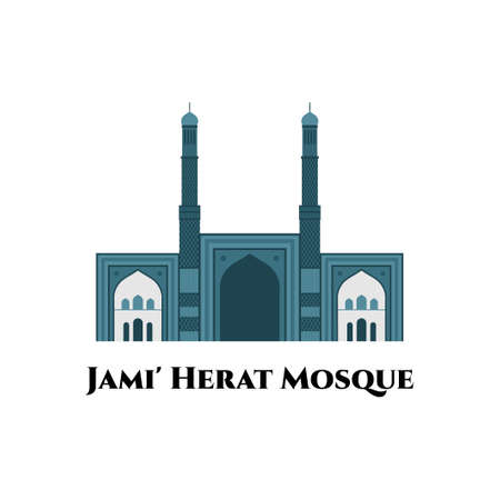 The Great Mosque of Herat or Jami Masjid of Herat. It is elegant and gorgeous architecture in Afghanistan. Great destination for tourist visit. Vector flat cartoon illustration
