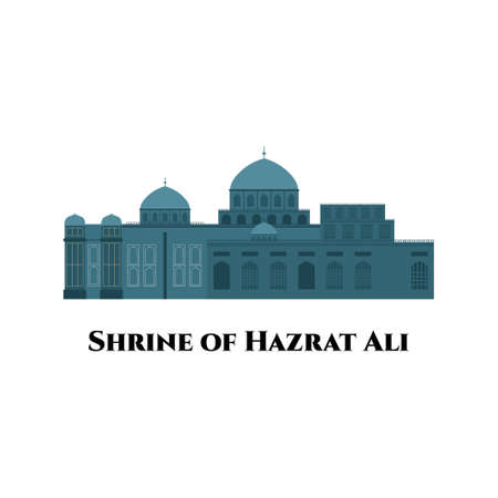 The Sanctuary of Imam 'Ali. Blue Mosque in Mazar-e Sharif, Afghanistan (Shrine of Hazrat Ali. The most impressive and beautiful shrine. Flat cartoon style vector illustration