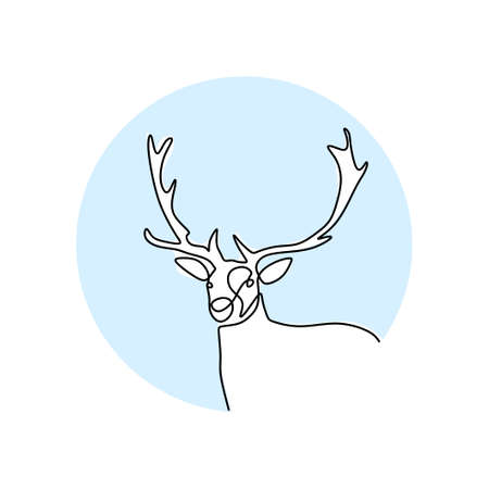 The deer. Continuous one line drawing of reindeer head. Winter animal mascot isolated on white background. Christmas animal symbol hand drawn sketch minimalism design. Vector illustration