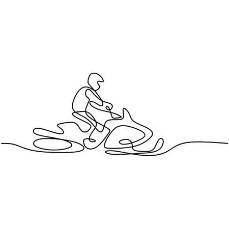 Continuous single drawn line man on a snowmobile in fresh snow isolated on white background. Young male driving snowmobile. Extreme winter sport concept. Minimalist style. Vector illustration