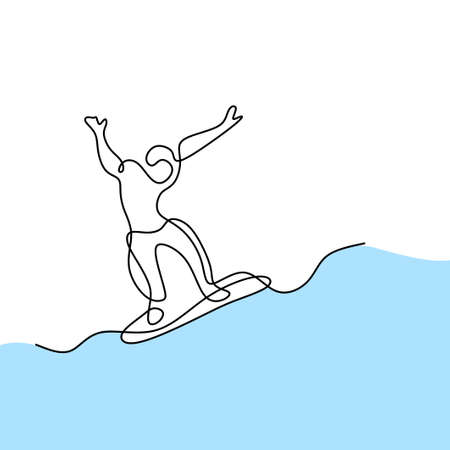 One continuous line drawing of snowboarder man hand drawn line art minimalist design. Young sporty male snowboarder riding snowboard in alps snowy powder mountain. Winter lifestyle sport concept