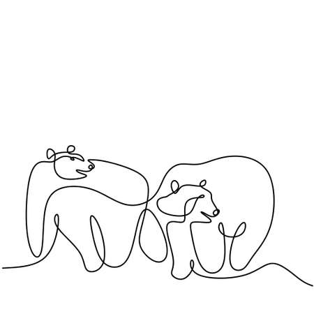 Single continuous one line drawing of two panda bears in the ice land. A giant panda in the forest. Winter wild animals mascot concept hand drawn minimalism style vector illustration.