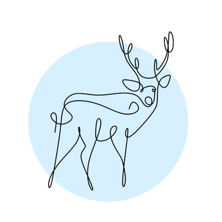One continuous line design silhouette of deer. The reindeer standing in the field hand drawing line art on white background minimalism design. Christmas animal concept. Vector sketch illustration Иллюстрация