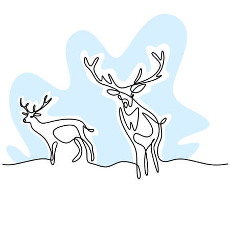 Two reindeer continuous one line drawing. Two deers in the forest minimalist design isolated on white background. Winter animal concept hand drawn line art vector wildlife sketch illustration