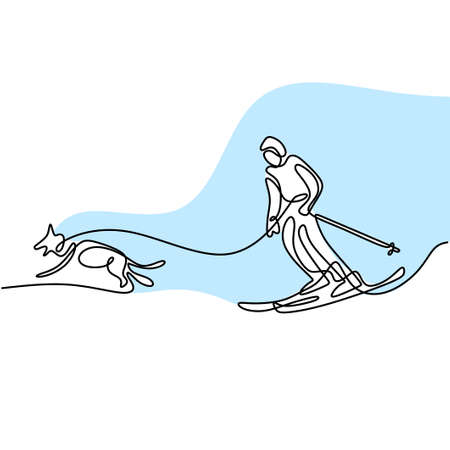 One single line drawing young sporty man playing ski ice. Young sporty energetic male on skis is pulled by a dog isolated on white background. Winter lifestyle and extreme sport concept