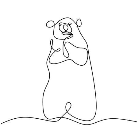 Continuous line drawing of bears. Cute grizzly bear is standing in winter hand drawn minimalism style. Wild mammal animal concept isolated on white background. Vector design illustration Иллюстрация