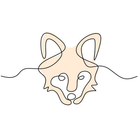 One single line drawing of dangerous wolf head. Wild animal in a winter isolated on white background. Strong wolves mascot concept for national zoo icon minimalist style. Vector illustration