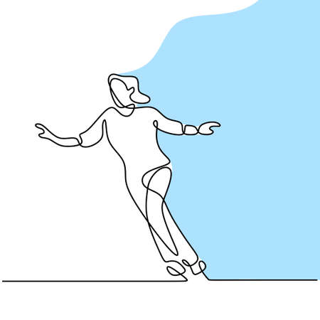 Continuous line drawing of skating girl. Beautiful woman playing ice skater while dancing in the ice area isolated on white background. Winter outdoor activities concept hand drawn minimalism design Иллюстрация