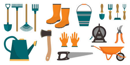 Set of garden tools. Instrument icons for horticulture rake, shovel, watering equipment, scissors, seed, plant, pruner. Collection isolated, white background. Cartoon flat vector illustration
