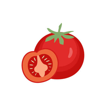 Tomato icon in flat style. Red tomatoes with green leaves food fruits vegetable from the farm. Organic food concept. Vector design coloring tomattoes cartoon illustration.