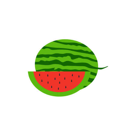 Watermelon and juicy watermelon slice. Healthy summer fruit concept. Minimalist style cartoon fruits. Vector illustration in colored fresh fruits flat design isolated on white background Illusztráció