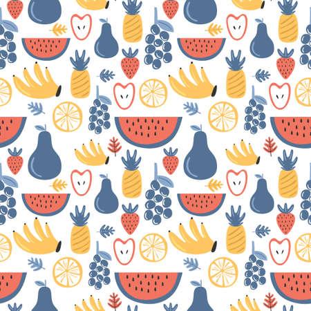 Fresh fruits seamless pattern. Grape, strawberry, banana, apple, pineapple, watermelon, orange. Tropical fruits. Healthy lifestyle concept. Vector nutrition foods cartoon illustration