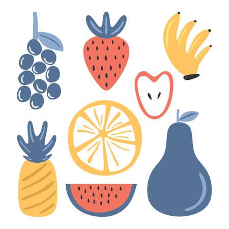 Fresh fruits colored set element. Grape, strawberry, banana, apple, pineapple, watermelon, orange isolated on white background. Splash of juice concept. Vector sketch illustration Illusztráció