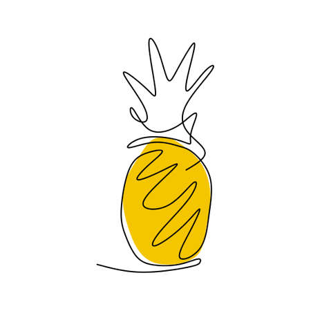 Continuous line drawing of pineapple. Fresh tropical fruit isolated on white background. Healthy lifestyle concept hand-drawn line art design minimalist style. Vector sketch illustration