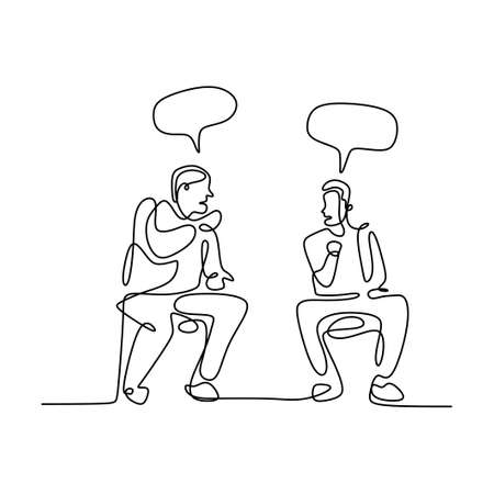 Continuous line drawing of two men sitting while talking about business plan with speech bubble. Young male enjoy discussing work task and strategy for new business isolated on white background