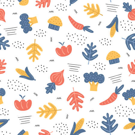 Seamless pattern colorful vegetables. Vegetables background. Tomato, parrot, broccoli, sweet corn, mushrooms, onion. Scandinavian style. Healthy organic food concept. Vector illustration