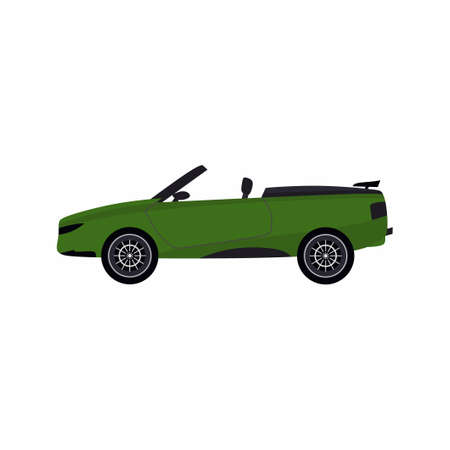 Green modern cartoon colored cabriolet car. Sport car without roof isolated on white background. Convertible car. Vector flat design illustration.