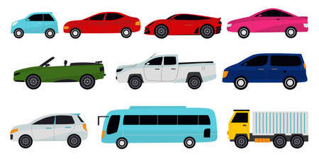 Collection of different cars. Sport car, vintage car, sedan car, cargo truck and bus. Vector illustration for automobile, transportation, vehicle concept. Ilustracja