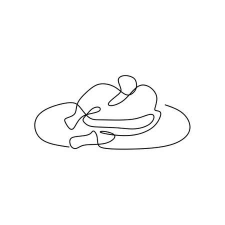 Single continuous line drawing of a fried chicken on plate. Hot delicious fried or roasted chickens on the table ready to eat isolated on white background. Minimalism design. Vector illustration