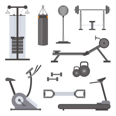 Vector flat icons set of fitness tools. Sport equipment in cartoon style. Active lifestyle accessories. Fitness or gym powerlifting tools theme. Workout, bodybuilding isolated on white background 矢量图像