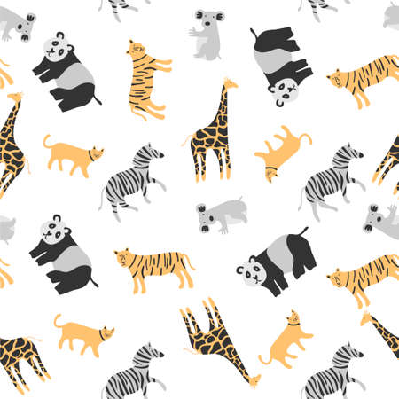 Vector seamless pattern coloring tropical funny animals with tiger, panda, cat and zebra hand drawn design on white background. Perfect for kids fabric, textile, nursery wallpaper. Cute dino design
