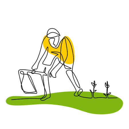 Single continuous line drawing young man digging ground using hoe at his home garden. A male takes care of his plants. Happy gardening or planting concept isolated on white background 矢量图像