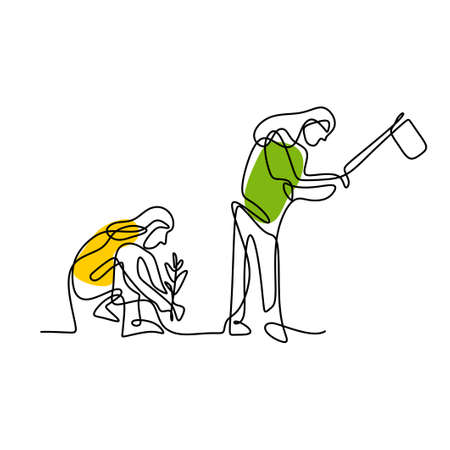 One continuous line of two woman works in the garden. Young girl who enjoys planting a plants and another one is digging the ground. The concept of growing and love earth. Vector illustration