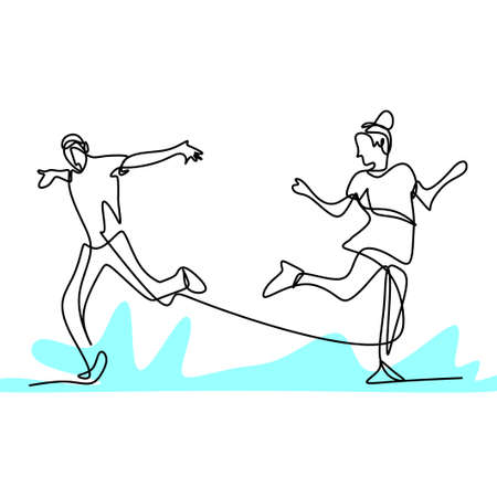 Continuous one line drawing of people dancer. Young energetic men and women are practicing dancing to perform isolated on white background. Professional dancer concept. Vector minimalist design