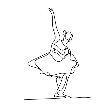 One single line drawing beautiful woman ballerina. Pretty ballet dancer show dance motion style. Character female dancing on stage. Beauty minimalist dancer concept logo. Vector illustration