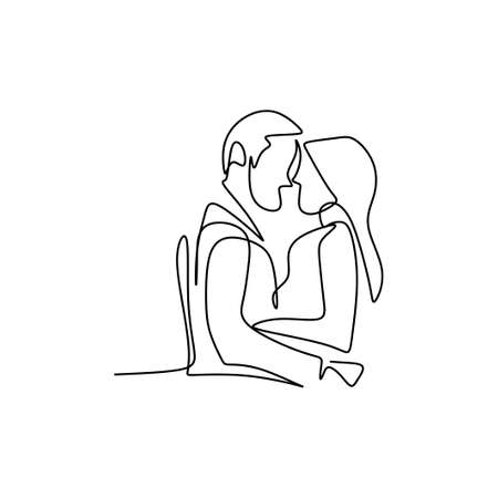 Continuous line drawing of couples hugging each other. Loving man and woman standing facing each other holding hands black linear sketch isolated on white background. Romantic successful date