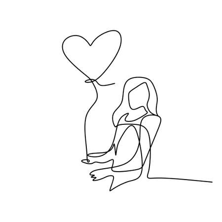 One single line drawing of young happy woman take a walk and holding a heart shaped balloon. Symbol of the feeling of being in love hand-drawn line art design minimalism style. Vector illustration