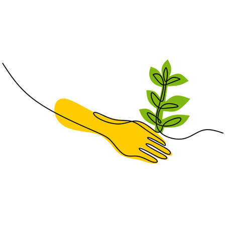 Continuous one line drawing of hands are planting a plants. Environment Earth Day isolated on white background. Back to nature theme. The concept of growing and love earth. Vector illustration