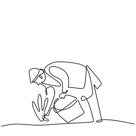 Continuous line drawing of a person planting a plants at home garden. Happy father is planting new species tree seed carefully. Taking care a houseplants. Back to nature concept. Vector illustration