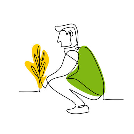 Single continuous line drawing young man planting a plants at home garden. Young man is learning gardening to fill his spare time at home isolated on white background. Back to nature concept 矢量图像