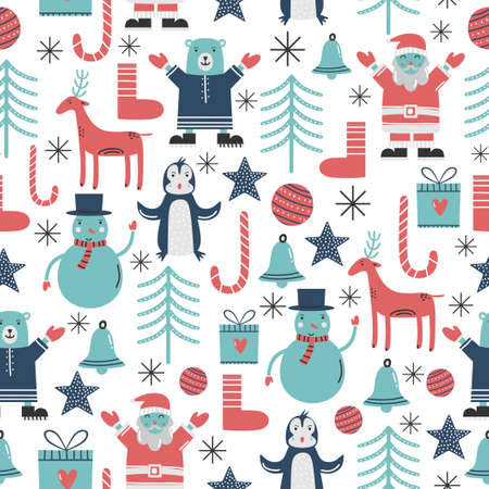 Cute snowman and Santa Claus in Christmas holidays background. Adorable cartoon character in winter theme. Wildlife cartoon character vector seamless pattern for Happy New Year and Christmas Day