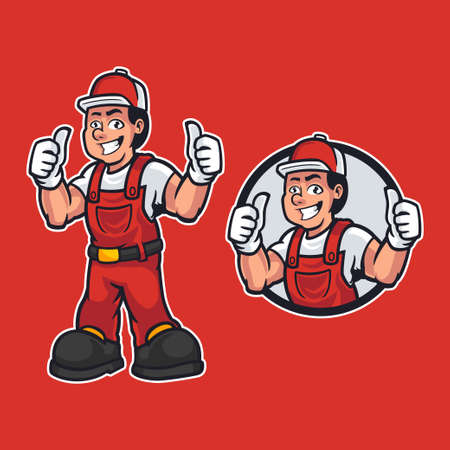 Professional worker in dressed work clothes and standing pose while giving thumbs up. Construction maintenance worker in mascot cartoon theme. Hand-drawn vector design illustration