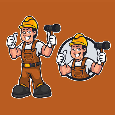 Handyman or builder cartoon man wearing work clothes while holding a hammer and giving thumbs up. Construction maintenance worker or DIY character mascot in cartoon style. Vector illustration