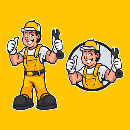 Hand-drawn vector illustration of happy carpenter handyman wearing work clothes and standing pose isolated on yellow background. Professional worker mascot in cartoon design. vector illustration