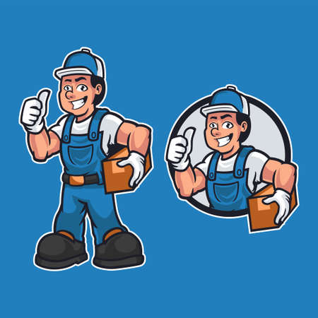 Friendly carpenter is dressed in work clothes and carrying a wooden while giving a thumbs up isolated on blue background. Mascot cartoon worker theme. Hand-drawn vector design illustration