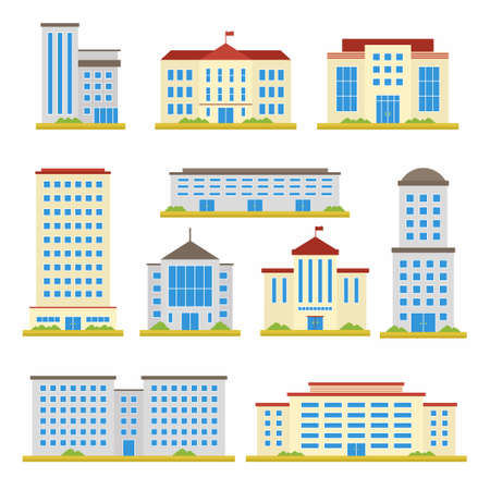 Set of city building vector flat design icons. School, bank, government offices, shop, contemporary office center and city hall building isolated on white background. Cartoon illustration
