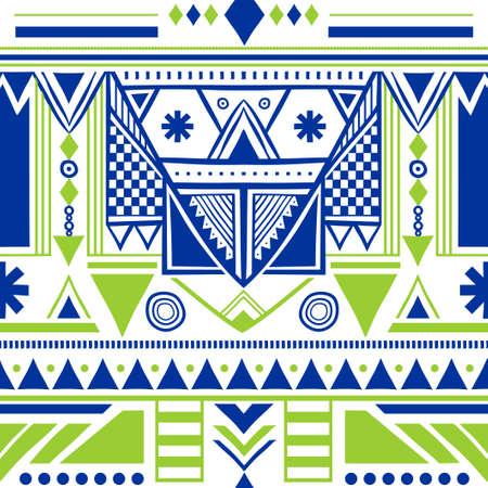 Ethnic oriental design on multicolor vector seamless pattern with abstract shapes. Traditional vintage tribal abstract with blue, green and white Wallpaper, cloth design, fabric, textile.