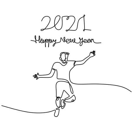 Happy woman welcome the new year continuous one line drawing. Male and female in New Year party concept isolated on white background. Celebrating the 2021 New Year. vector illustration