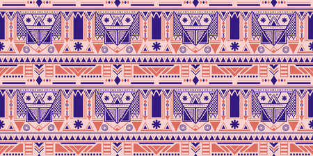 Hand drawn retro pastel colors painted seamless pattern. Ethnic motif isolated on white background. Vector tribal design for textile, wrapping paper, wallpaper, pattern fills, web page background. 矢量图像
