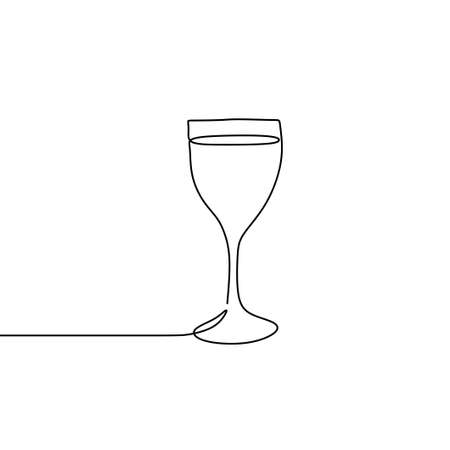 Continuous one line drawing of a glass of wine at the table linear sketch isolated on white background. A glass of champagne for celebration party. Minimalist design. Vector illustration 矢量图像