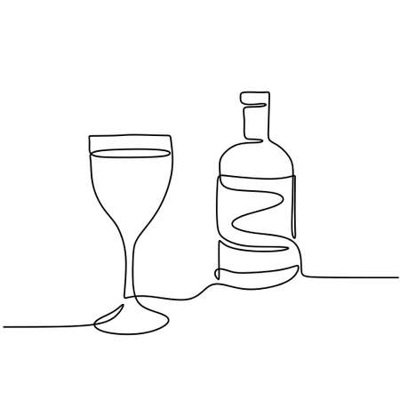 Continuous one line drawing of a wine bottle and a glass linear sketch isolated on white background. Champagne bottle with a glass for celebration party. Minimalist design. Vector illustration