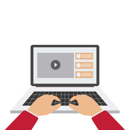 Laptop and hands on the keyboard. The concept of youtuber or programmer workflow for website coding and html programming of web application. Flat cartoon design style modern vector illustration 矢量图像